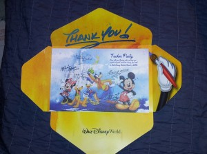 Thank you card from Disney World