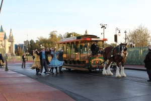 Main Street performers with the Trolley.